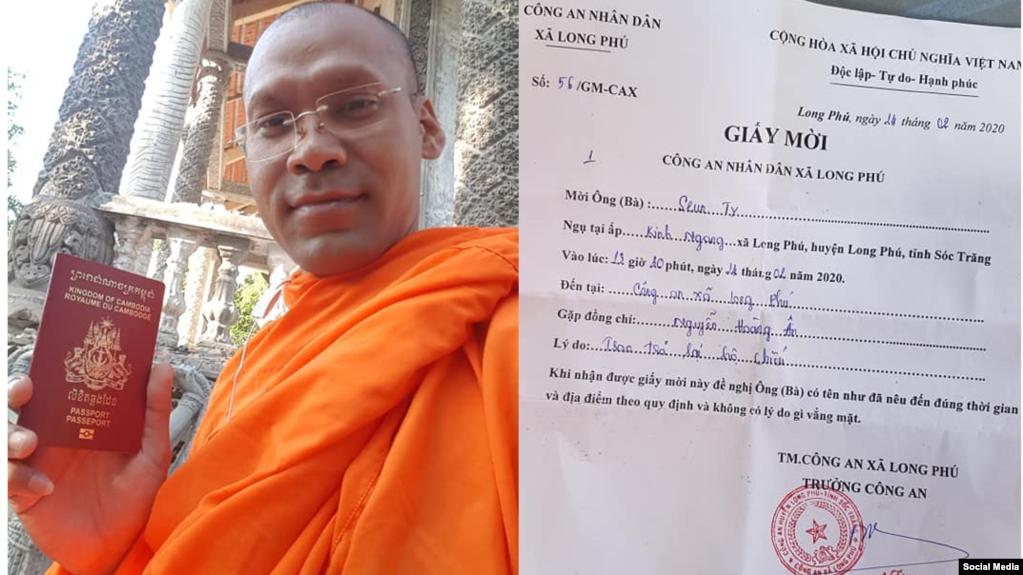Việt Nam tịch thu hộ chiếu của nhà sư Campuchia vì 'vi phạm Luật An ninh Mạng'